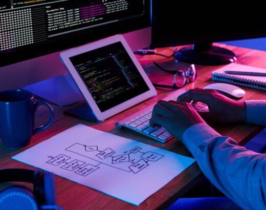 Developer following scheme he has drawn when wring a code